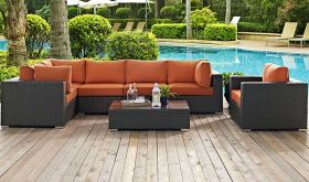 Sojourn 7 Piece Outdoor Patio Wicker Rattan Sunbrella Sectional Set in Canvas Tuscan