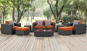 Sojourn 8 Piece Outdoor Patio Sunbrella Sectional Set in Canvas Tuscan