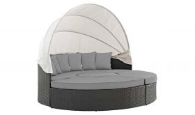 Sojourn Outdoor Patio Sunbrella Daybed in Canvas Gray