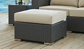 Sojourn Outdoor Patio Sunbrella Ottoman in Canvas Antique Beige
