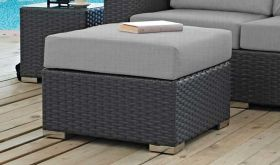 Sojourn Outdoor Patio Sunbrella Ottoman in Canvas Gray