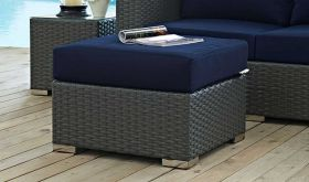 Sojourn Outdoor Patio Sunbrella Ottoman in Canvas Navy