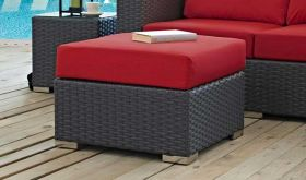 Sojourn Outdoor Patio Sunbrella Ottoman in Canvas Red
