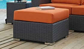 Sojourn Outdoor Patio Sunbrella Ottoman in Canvas Tuscan