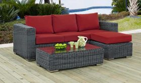 Summon Outdoor Patio Sunbrella Sectional Set in Canvas Red