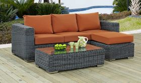 Summon Outdoor Patio Sunbrella Sectional Set in Canvas Tuscan