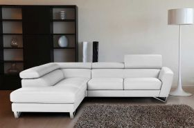 J&M Sparta Italian Leather Sectional Sofa in White with Left Facing Chaise