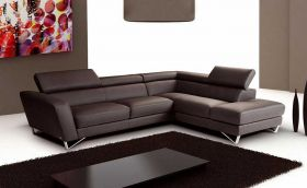 J&M Sparta Italian Leather Sectional Sofa in Chocolate with Left Facing Chaise