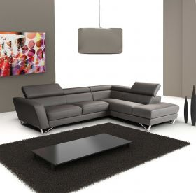 J&M Sparta Italian Leather Sectional Sofa in Grey with Left Facing Chaise