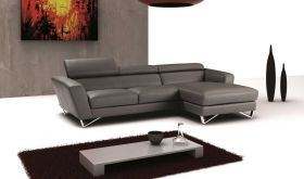 J&M Sparta Mini Italian Leather Sectional Sofa in Grey with Left Facing Chaise