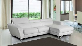 J&M Sparta Mini Italian Leather Sectional Sofa in White with Left Facing Chaise