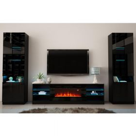 Steam Modern Electric Fireplace Wall Unit Entertainment Center