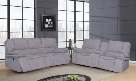 Steven Modern Power Motion Fabric Living Room Set in Light Gray