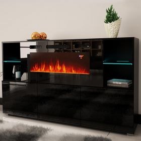 "Stuttgart Electric Fireplace Modern 63"" Sideboard"