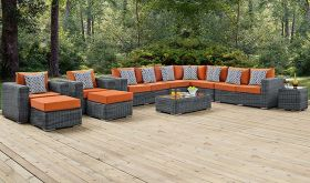 Summon 11 Piece Outdoor Patio Sunbrella Sectional Set in Canvas Tuscan