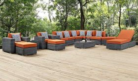 Summon 12 Piece Outdoor Patio Sunbrella Sectional Set in Canvas Tuscan