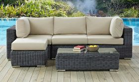Summon 5 Piece Outdoor Patio Wicker Rattan Sunbrella Sectional Set in Canvas Antique Beige