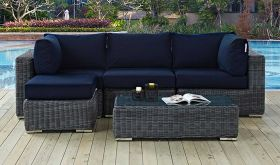 Summon 5 Piece Outdoor Patio Wicker Rattan Sunbrella Sectional Set in Canvas Navy