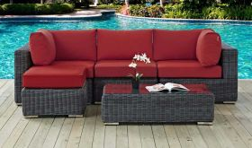Summon 5 Piece Outdoor Patio Wicker Rattan Sunbrella Sectional Set in Canvas Red