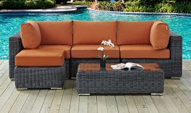 Summon 5 Piece Outdoor Patio Wicker Rattan Sunbrella Sectional Set in Canvas Tuscan