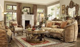 Suwannee Traditional Living Room Set in Metallic Antique Gold & Brown