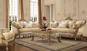 Sylacauga Traditional Living Room Set in Champagne & Gold