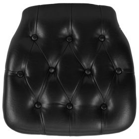 Hard Black Tufted Vinyl Chiavari Chair Cushion [SZ-TUFT-BLACK-GG]