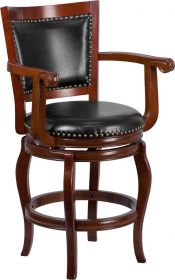 "26"" High Cherry Wood Counter Height Stool with Black Leather Swivel Seat [TA-2125-24-CHY-GG]"