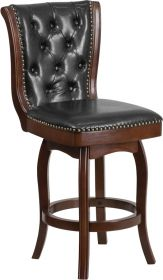 "26"" High Cappuccino Wood Counter Height Stool with Black Leather Swivel Seat [TA-240126-CA-GG]"