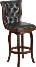 "30"" High Cappuccino Wood Barstool with Black Leather Swivel Seat [TA-240130-CA-GG]"