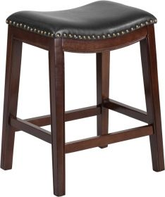 "26"" High Backless Cappuccino Wood Counter Height Stool with Black Leather Seat [TA-411026-CA-GG]"
