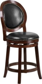 "26"" High Cappuccino Counter Height Wood Barstool with Black Leather Swivel Seat [TA-550126-CA-GG]"