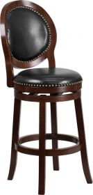 "30"" High Cappuccino Wood Barstool with Black Leather Swivel Seat [TA-550130-CA-GG]"