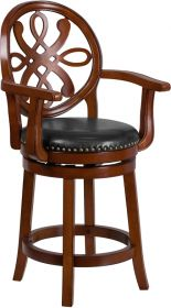 "26"" High Brandy Wood Counter Height Stool with Arms & Black Leather Swivel Seat [TA-550226-BDY-GG]"