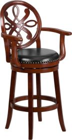 "30"" High Cherry Wood Barstool with Arms & Black Leather Swivel Seat [TA-550230-CHY-GG]"