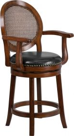 "26"" High Expresso Wood Counter Height Stool with Arms & Black Leather Swivel Seat [TA-550426-E-CTR-GG]"