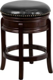 24'' High Backless Cappuccino Wood Counter Height Stool with Black Leather Swivel Seat [TA-68824-CA-CTR-GG]