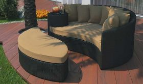 Taiji Outdoor Patio Wicker Rattan Daybed in Espresso Mocha
