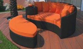 Taiji Outdoor Patio Wicker Rattan Daybed in Espresso Orange