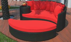 Taiji Outdoor Patio Wicker Rattan Daybed in Espresso Red