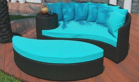 Taiji Outdoor Patio Wicker Rattan Daybed in Espresso Turquoise