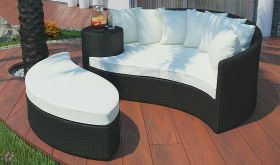 Taiji Outdoor Patio Wicker Rattan Daybed in Espresso White