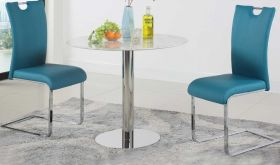 Tampa Modern Bistro Dining Set in Blue PU & Jazz White