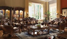 Tauber Leather Traditional Living Room Set in Cherry