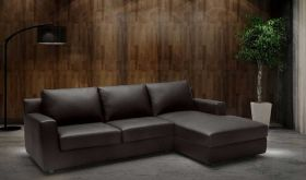 J&M Taylor Premium Leather Sectional Sofa Sleeper in Dark Brown with Left Facing Chaise