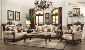 Tellus Traditional Living Room Set in Beige & Walnut