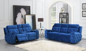 Thurber Modern Power Motion Fabric Living Room Set in Blue