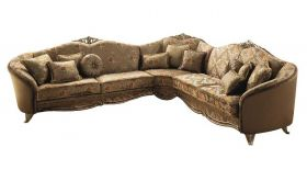 Tiziano Contemporary Corner Sofa in Gold & Floral