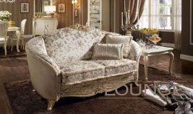 Tiziano Living Room Set in Light Brown & Ivory