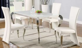 Toccoa Casual Dining Room Set in White/Polished SS & White